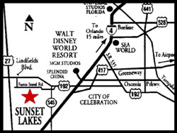 Location of Sunset Lakes Kissimmee